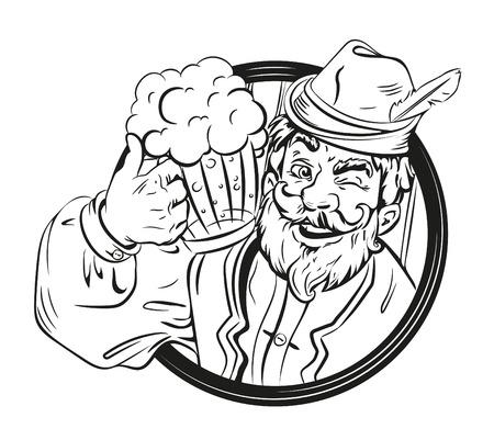 and delighted: Beer drink emblem, festival. Bearded man, mug beer. German, Bavarian clothes.