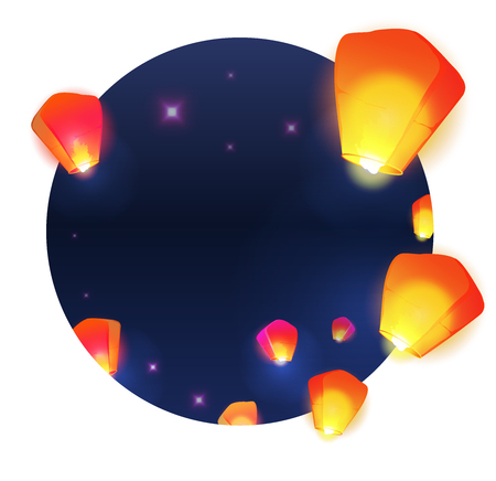 Make a wish lanterns floating in a dark night sky illustration. Chinese New Year of the rooster.
