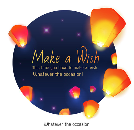 Make a wish lanterns floating in a dark night sky. Vector illustration. Chinese New Year of the rooster.