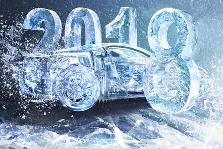 Nieuwe jaar concept auto auto, 2018