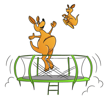 Funny kangaroo jump on the trampoline illustration. Vetores