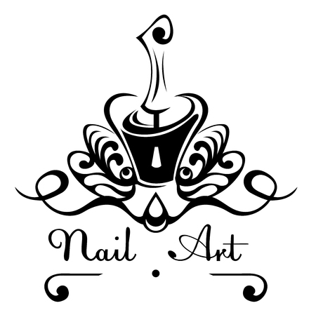 Nail art abstract vector logo bottle of nail polish with a brush, nail decoration with decorative patterns.