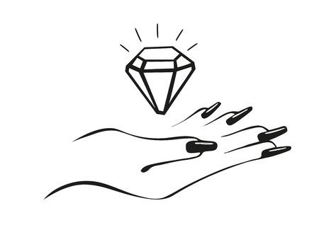 Diamond in hand, vector logo. Shining manicure concept Stock Photo