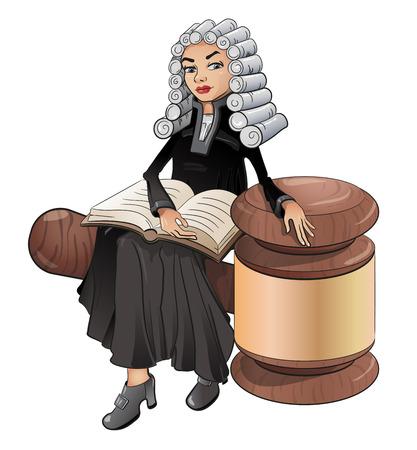 Sędzia jest prawniczką w peruce z książką i młotem, wektorem, symbolem prawa i sprawiedliwości. Na białym tle, clipart.