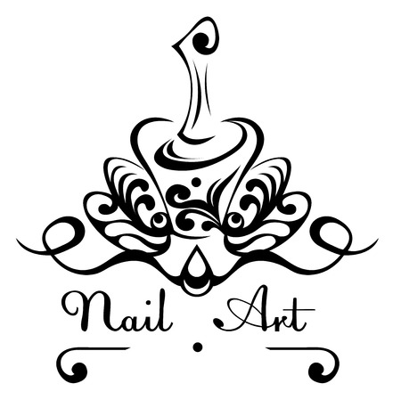 Nail art abstract vector logo bottle of nail polish with a brush, nail decoration with decorative patterns.