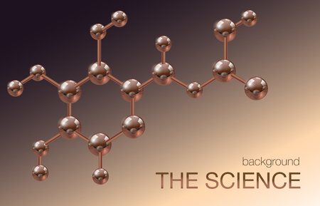 Molecule vector background, chemical atomic bond. Scientific discoveries, chemistry, biology. Metal balls.