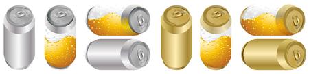 Beer can mock-up metal silver, golden, Transparent can of beer