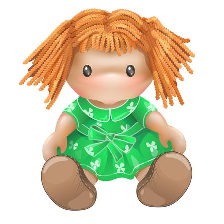 Doll illustration isolated on white background. Childrens toys for girls. Rag doll, needlework. Banco de Imagens