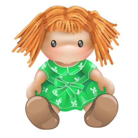 Doll illustration isolated on white background. Childrens toys for girls. Rag doll, needlework. Stock Photo