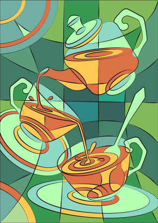Tea party card in vector, stained-glass window cafe, kitchen. Pour tea into cups from a teapot.
