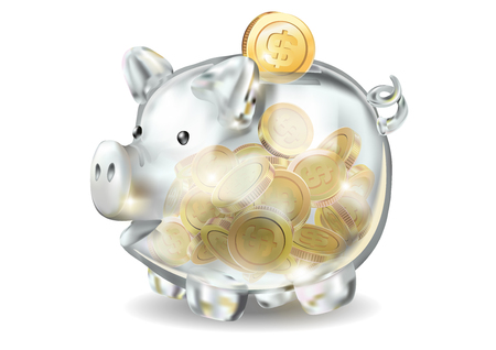 Piggy bank 3d realistic glass in vector on a white background. Coins, savings, bank, finance money cash gold dollar, the year of the pig, wealth, saving Pig piggy.
