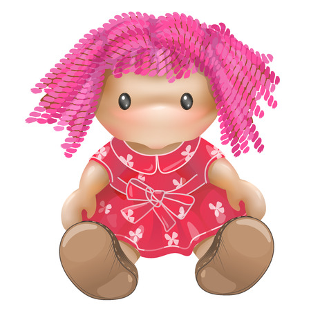 Doll vector. Rag toy. Threads, pink hair, pink dress.