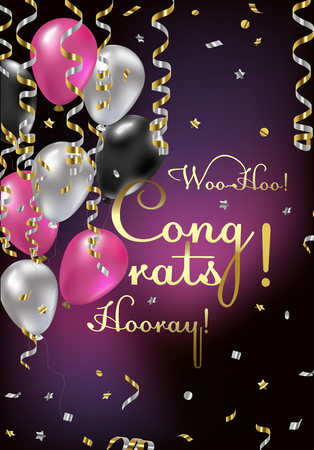 Congratulations vector illustration. Happy Birthday! You are invited to a party! Balloons, streamers, confetti, gold and silver. Congrats on the holiday.
