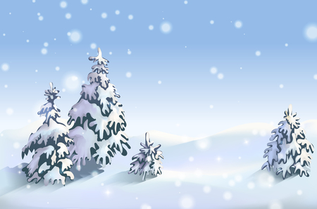Winter background with snowdrift and fir trees. Banner, Winter is near, winter sales, blizzard, snow, snowflakes. Stok Fotoğraf - 114443797