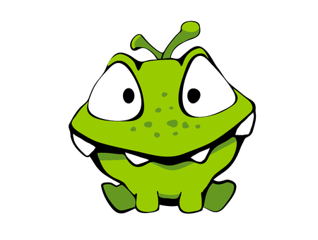 Cute cartoon monster green for kid in vector. Isolated on white background, sticker. Stock Photo