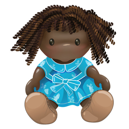 Doll. Rag toy. Threads, red hair, green dress. Pretty young African American girl Imagens