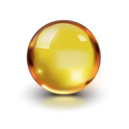 Oil gold glass ball isolated on white background. Cosmetic pill capsule of vitamin E, A, Argan oil, Almond, cod liver, Omega 3, fish. Golden bubble template. Realistic 3d.