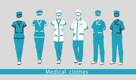 Set medical clothes suit for the man and the woman consists of a jacket and trousers. Design template medical uniform. Vector illustration. 向量圖像