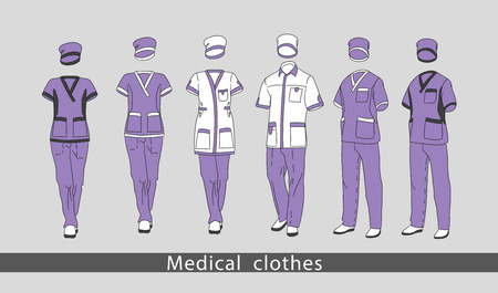 Set medical clothes suit for the man and the woman consists of a jacket and trousers. Design template medical uniform. Vector illustration. Stock Photo