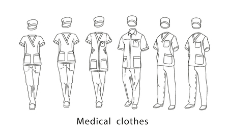 Set medical clothes suit for the man and the woman consists of a jacket and trousers. Design template medical uniform illustration.