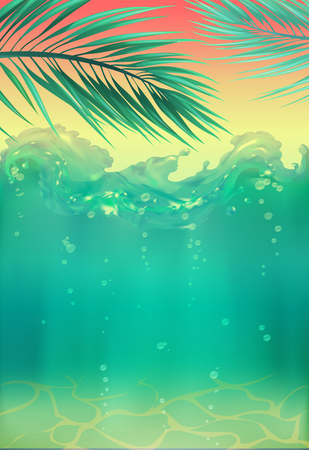 Summer backgrounds with ocean, palms, sky and sunset. Travel placard poster flyer invitation card. Summertime, tropical paradise. Stock fotó