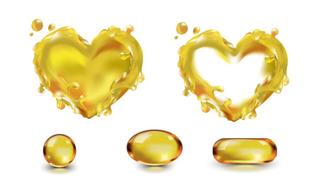 Oil splash drop capsule isolated on white background with transparency. The wave of the oil liquid heart yellow. Vegetable, olive, machine. Food, cosmetology, medicine, industry. Fish oil, vitamin A, E, Omega-3