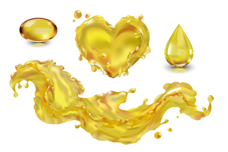 Oil splash drop capsule vector isolated on white background with transparency. The wave of the oil liquid heart yellow. Vegetable, olive, machine. Food, cosmetology, medicine, industry. Fish oil, vitamin A, E, Omega-3