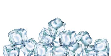 Ice cubes transparent 3d illustration realistic set. Water freeze Clip art for your design.