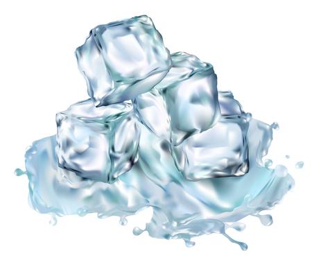 Cubos de hielo transparente vector ilustración 3d conjunto realista. Imágenes prediseñadas de congelación de agua para su diseño.