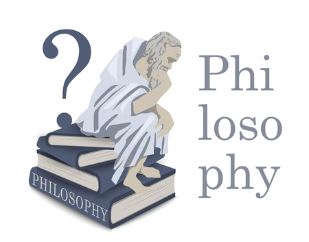 Philosophy icon in vector. Illustration with a thinker man on a stack of books. Antique sage philosopher. Emblem, flat illustration.