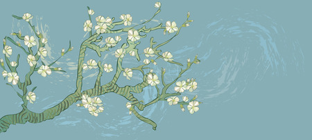 Ramo di mandorla primaverile, fiori in vettoriale. Annata dell'albero in fiore. Stile bohémien. Per immagini Vincent Van Gogh ramo di mandorlo retrò. Vettoriali