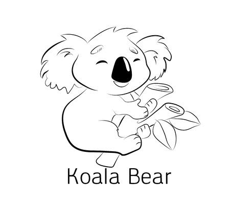 Koala cute bear coloring book. Illustration kid, an Australian animal, sitting.