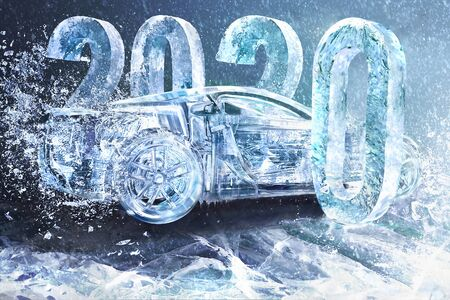 New year concept car auto, 2020, banner, calendar.