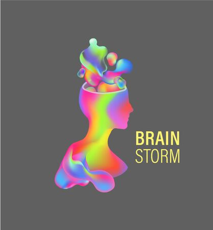 Brainstorm, a person ponders, invents, generates ideas. Creative search. Silhouette of a man with thoughts. Ilustracja