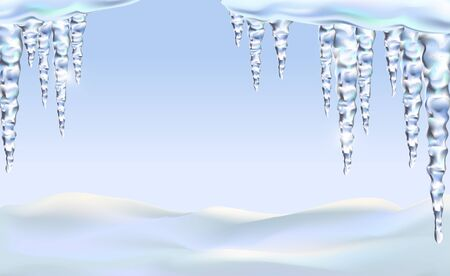 Icicles icy for background, isolated realistic, sparkling. Spring ice is melting. Vettoriali