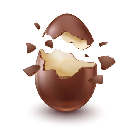 Chocolate egg, childs surprise for Easter and holidays, broken.
