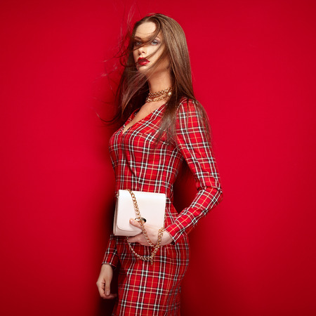 Portrait of young beautiful girl with a bag in hands. Fashion photo. Hairstyle. Make up. Vogue Style.