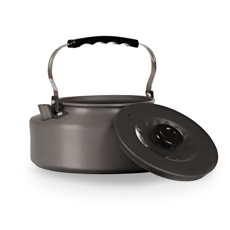 lid: Tourist kettle with a lid on a white background