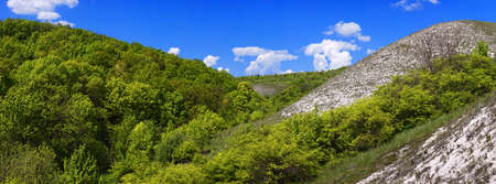 chalky: Panoramic views of the chalk hills in the Don River valley. Photo taken in the central part of Russia. Stock Photo