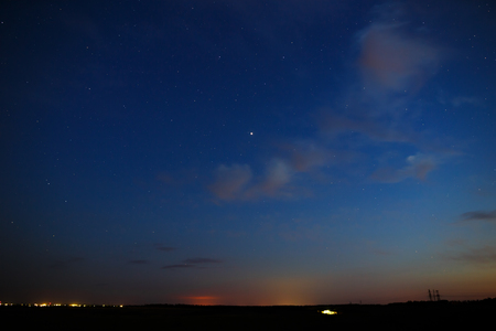 researches: Stars and clouds in the sky after sunset.
