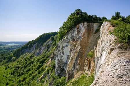 chalky: Chalky hills with vegetation in the middle of Russia. Stock Photo
