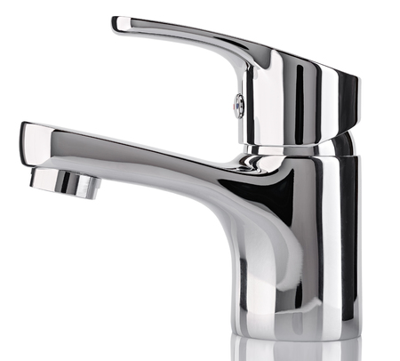 plumb: The water tap, faucet for the bathroom and kitchen mixer, isolated on a white background. Chrome-plated metal. Side view