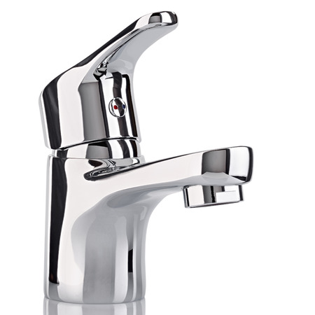 chromeplated: The water tap, faucet for the bathroom and kitchen mixer, isolated on a white background. Chrome-plated metal.