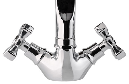 plumb: The water tap, faucet for the bathroom and kitchen mixer, isolated on a white background. Chrome-plated metal.