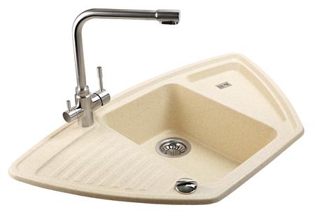 De waterkraan kraan voor badkamer en keuken mixer geïsoleerd op