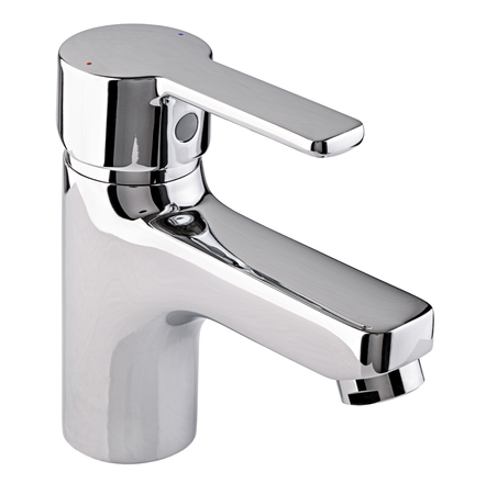 plumb: Mixer cold hot water. Modern faucet  bathroom.  Kitchen tap  . Isolated  white background. Chrome-plated metal. Stock Photo