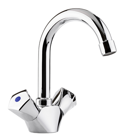 chromeplated: Mixer cold hot water. Modern faucet  bathroom.  Kitchen tap  . Isolated  white background. Chrome-plated metal. Stock Photo