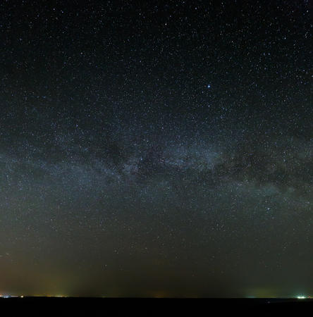 starry night: Galaxy Milky Way in the night sky with bright stars. Astrophotography of outer space. Stock Photo