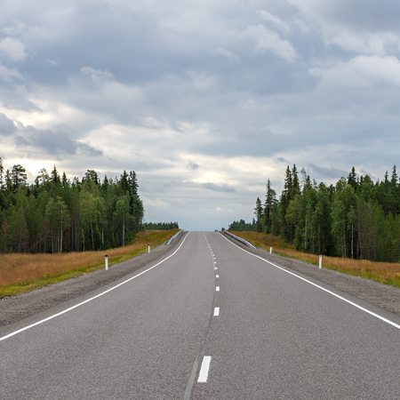 Highway with markings on the sky background.