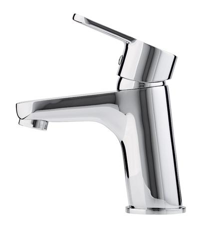 Kaltes heißes Wasser des Mischers. Modernes Badezimmer mit Wasserhahn. Küchen-Wasserhahn . Getrennter weißer Hintergrund. Seitenansicht.
